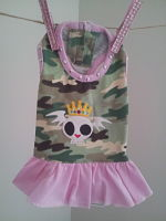Pooch Outfitters Pink Camo Scull Crown doggie dress