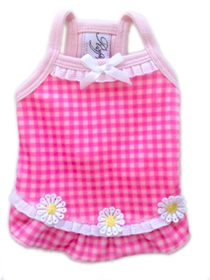 Ruff Ruff Couture Miss Daisy pink gingham dog Dress