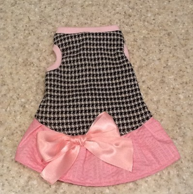 ADORABLE Dog Dress Pink Black & White Hounds Tooth & Bow