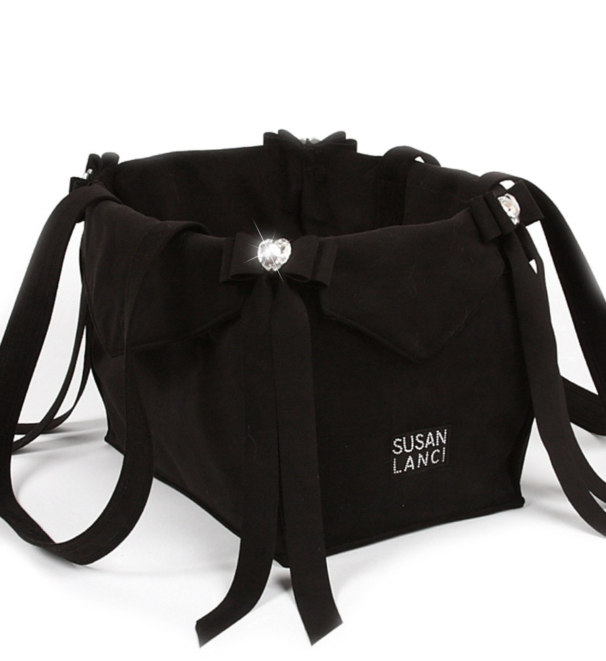 Black Tail Bow Heart Luxury Dog Carrier by Susan Lanci