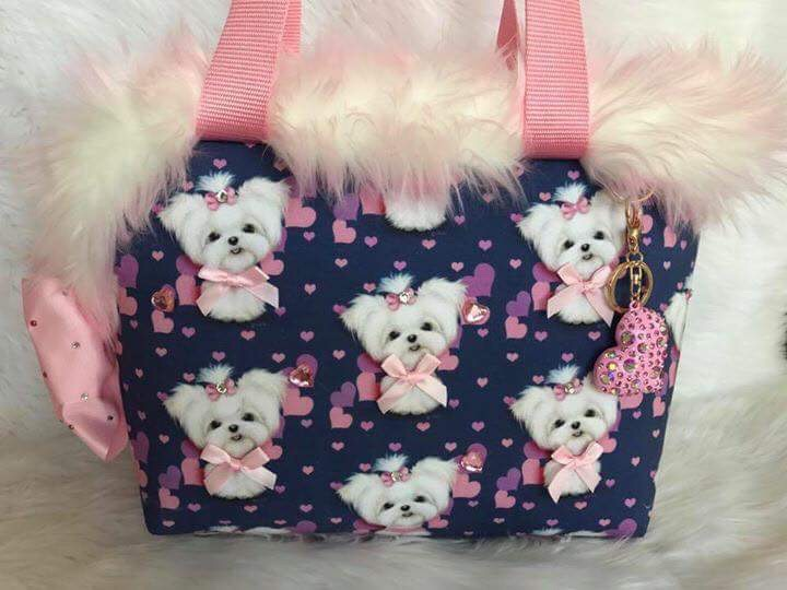 Maltese Designer dog bag Carrier By Kiersten Hand made with Love!