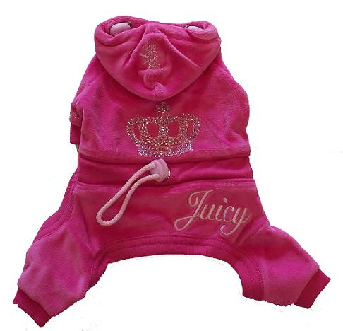 Juicy Couture Crown Velour doggie pink track suit